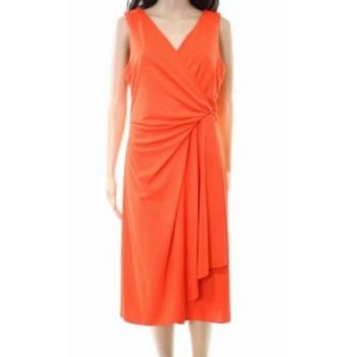 DKNY ダナキャランニューヨーク ファッション ドレス DKNY NEW Bright Orange Womens 2 Draped Jersey V-Neck Sheath Dress