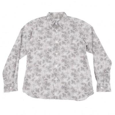 アニエスベーオムagnes b. homme パイソンプリントシャツ 白グレー42 【メンズ】