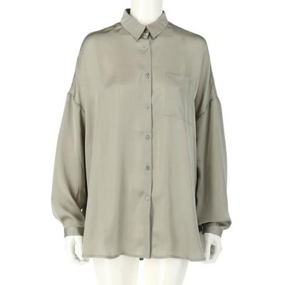 CHILLE ヴィンテージサテンオーバーサイズシャツ(ミント)