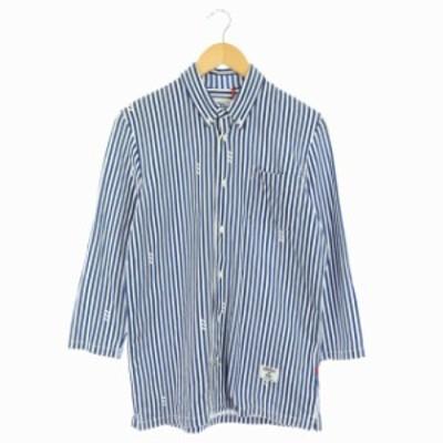 【中古】アディダスオリジナルス adidas originals ストライプシャツ 七分袖 ボタンダウン M 青 白 /HS ■OS メンズ