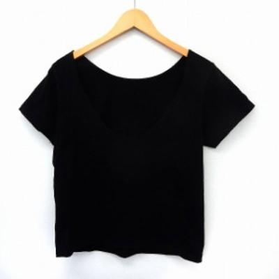【中古】アングリッド UNGRID カットソー Tシャツ 半袖 Uネック 無地 シンプル F ブラック /ST37 レディース