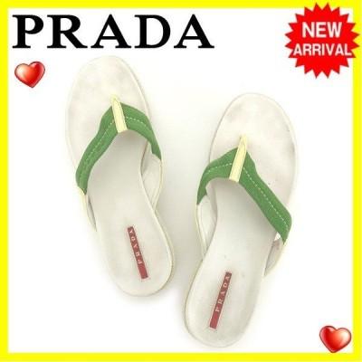 プラダ PRADA サンダル シューズ 靴 レディース ♯37 ウェッジソール ビーチ