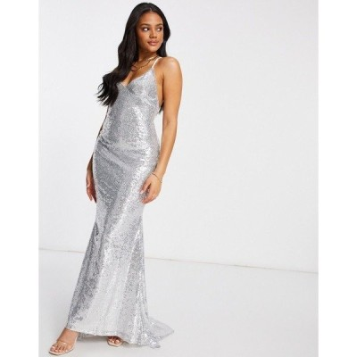 クラブエルロンドン レディース ワンピース トップス Club L low back sequin cami maxi dress with fishtail in silver Silver