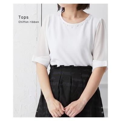 Tシャツ カットソー レディース パール調×ビジューがポイント リボン袖 トップス M/L ニッセン nissen