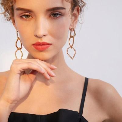 [ゴールド]ファッション耳ドロップイヤリング中空不規則な幾何学的なラインストーンの魅力のイヤリング女性のための