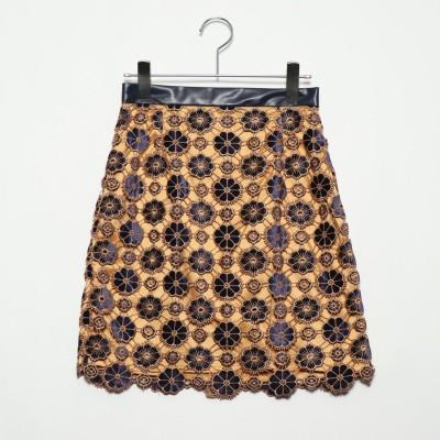 リリーブラウン Lily Brown お花柄ベロアレーススカート (オレンジ)