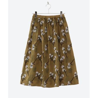 <marble SUD(Women/大きいサイズ)/マーブルシュッド> EMBサシコットン ギャザースカート 28 OLV【三越伊勢丹/公式】