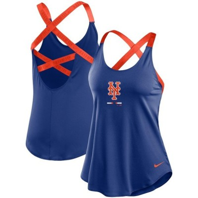 ナイキ Tシャツ トップス レディース New York Mets Nike Women's Legacy Elastika Performance Tank Top Royal/Orange