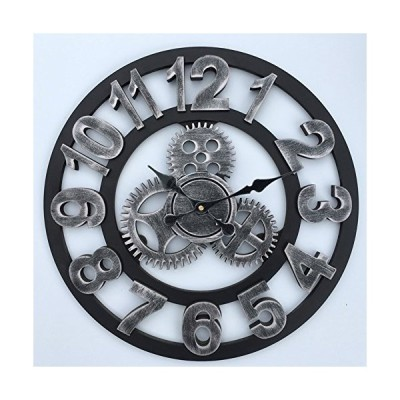 MQHY-3D Gear Wall Clock Wooden Art Retro Clocks Living Room Creative Wall Clock Hand Made Art Style Bar Decoration Bedroom and Housewarming Hanging Or