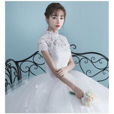 超美品レディースウェディングドレス二次会パーティードレス 大きいサイズ エレガントドレス スタンドカラー撮影写真結婚式披露宴花嫁