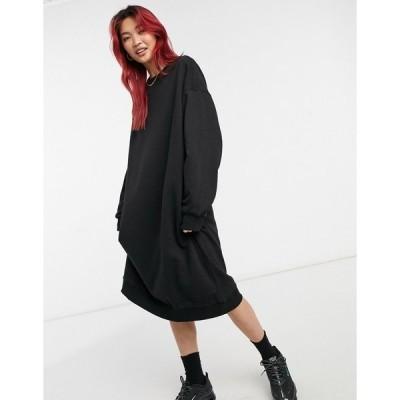 ウィークデイ レディース ワンピース トップス Weekday Payton midi sweatshirt dress in black Black