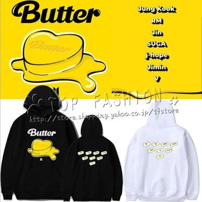 BTS (防弾少年団)  Butter  韓流グッズ 長袖 パーカー 厚手/薄手  フード付き トップス スウェット パーカー  周辺 応援服 打歌服