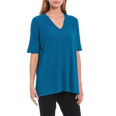 エイリーンフィッシャー レディース Tシャツ トップス Organic Linen Crepe Stretch V-Neck Elbow Sleeve Tunic