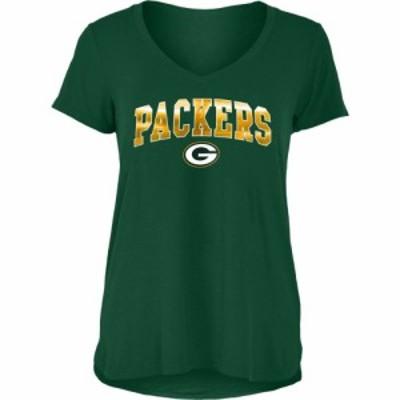 ニューエラ New Era レディース Tシャツ Vネック トップス Green Bay Packers Green Foil V-Neck T-Shirt