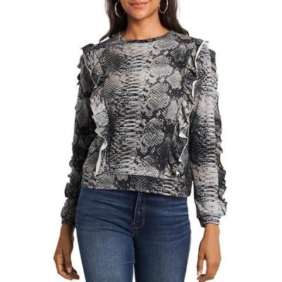 ワンステート レディース Tシャツ トップス Ruffle Detail Snake Print Terry Knit Sweatshirt