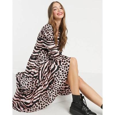 リクオリッシュ レディース ワンピース トップス Liquorish a-line midi dress in pink leopard print Pink leopard