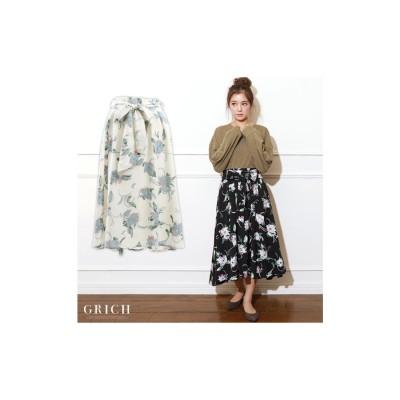 GROWING RICH 花柄フレアスカート ブラック