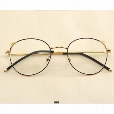 PCメガネ メンズ レディース 丸型 ブルーライトカット 軽量 度なし メガネ メタルフレーム おしゃれ PC眼鏡
