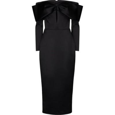 ロサリオ RASARIO レディース パーティードレス ミドル丈 ワンピース・ドレス stretch-satin midi dress Black