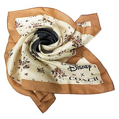 COACH X DISNEY限量聯名小飛象薄款絲巾方巾(粉膚)