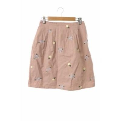 【中古】オリーブデオリーブ OLIVE des OLIVE スカート 台形 ミニ 花柄 刺繍 M ピンク /MS レディース