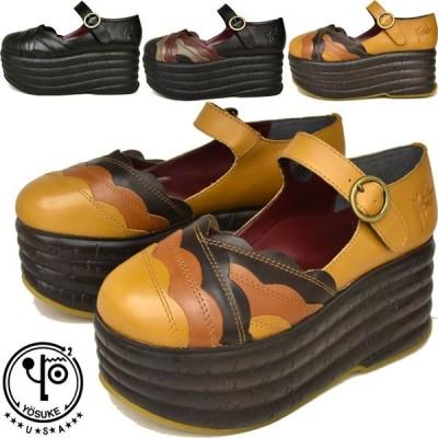 ヨースケ 厚底 パンプス YOSUKE ストラップ 本革 レザー レディース 靴 1000055