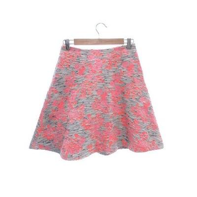 【中古】デミルクス ビームス Demi-Luxe BEAMS フレアスカート ひざ丈 ツイード 花柄 36 グレー ピンク /CT レディース 【ベクトル 古着】