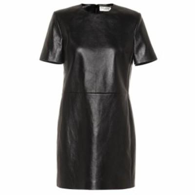 イヴ サンローラン Saint Laurent レディース ワンピース ワンピース・ドレス Leather minidress Black