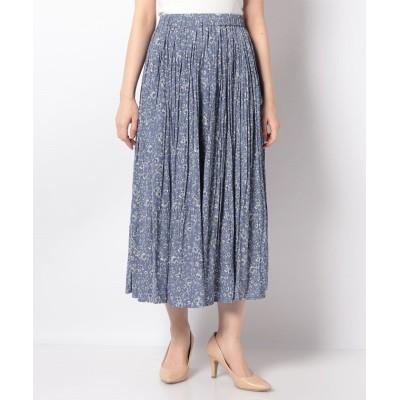 (Petit Honfleur/プチ オンフルール)割繊花柄プリントプリーツスカート/レディース ブルー