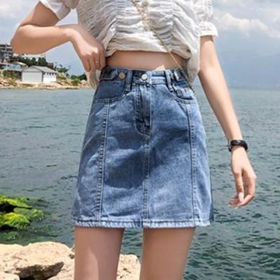 デニムスカート 大きいサイズ 春夏 Aラインスカート ゆったり 2020新作 ハイウエスト タイトスカート 着痩せ ミニ丈スカート レディース