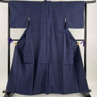 紬 優品 縦縞 紺色 袷 身丈160.5cm 裄丈63cm S 正絹 中古