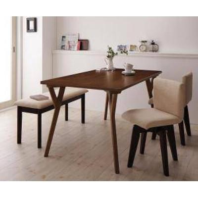 ダイニングテーブルセット 4人用 椅子 ベンチ おしゃれ 安い 北欧 食卓 4点 ( 机+チェア2+長椅子1 ) 幅140 デザイナーズ クール スタイリ