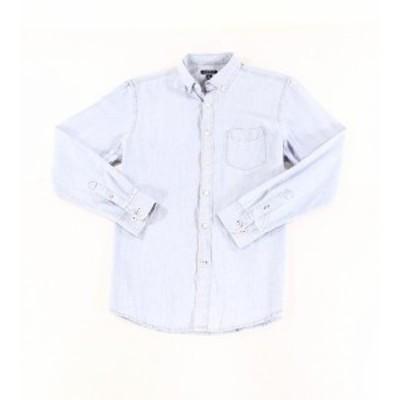 Pocket  ファッション アウター Club Room NEW Blue Mens Size 2XL XXL Button Down Pocket Denim Shirt
