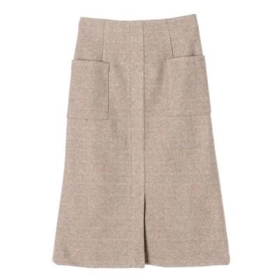 スカート 起毛ポケットナロースカート *