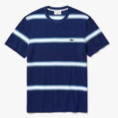 ラコステ メンズ レギュラーフィット エッジボーダー デザイン クルーネック Tシャツ 半袖 LACOSTE SHIRT REGULAR FIT SALE セール