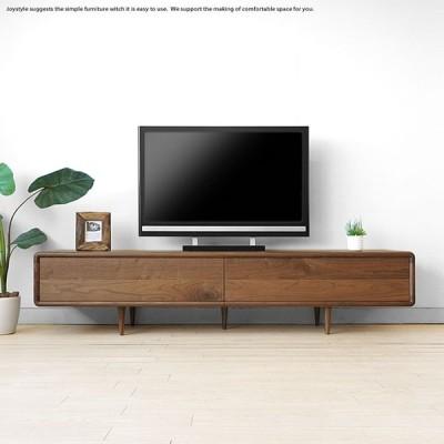受注生産商品 幅200cm ウォールナット材 ウォールナット天然木 扉を閉めたままデッキのリモコン操作ができる木扉 北欧家具 丸みのあるテレビボード テレビ台