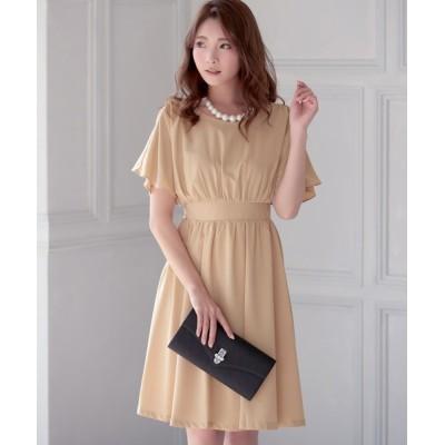 ドレス 半袖ギャザーひざ丈フレアワンピースパーティードレス