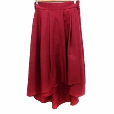 【中古】未使用品 ナノユニバース nano universe スカート フレア ロング 36 赤 レッド /RT レディース