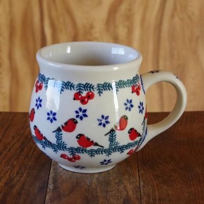 ポーランド食器 陶器 ポーリッシュポタリー マグカップ L 300ml 赤い小鳥と木の実 K90-GILE