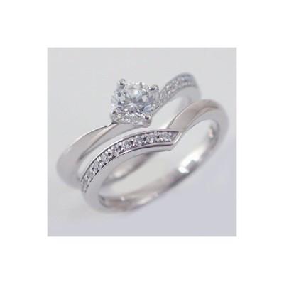 鑑定書付 ダイヤモンド プラチナ 婚約指輪 エンゲージリング ダイヤ 0.5ct F-VVS1-EX 脇ダイヤ 0.14ct V字 セットリング Pt900