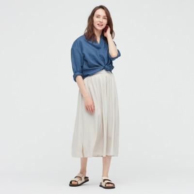シャイニーギャザーロングスカート(丈短め76~80cm)