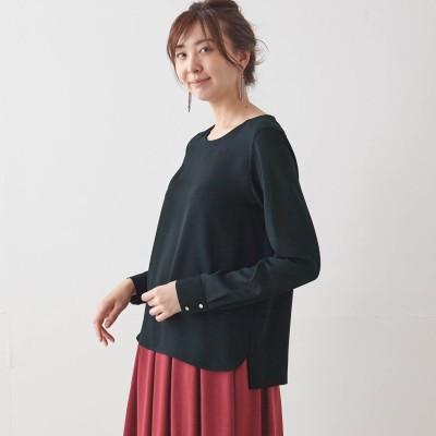 【9/25販売終了】軽やかな袖異素材使いクルーネックブラウス(スタイルノート/StyleNote)