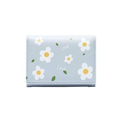 [zaltkaten] 財布 レディース 小銭入れ 多機能 カード入れ 大容量 軽量 女性用 二つ折り財布 コンパクト (ブルー)