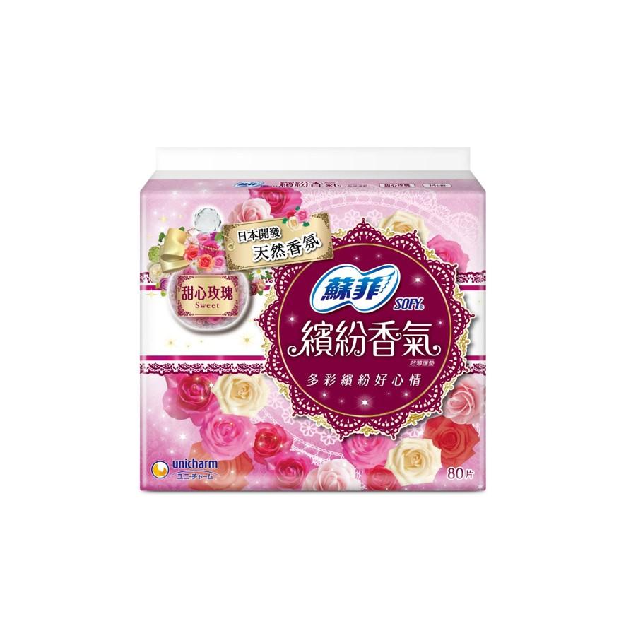 蘇菲繽紛香氣甜心玫瑰護墊80片