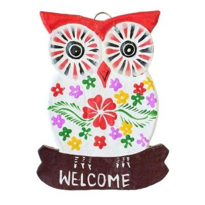 WELCOMEボード フクロウ ホワイト 10219825098