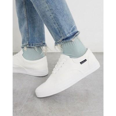 ベンシャーマン Ben Sherman メンズ スニーカー シューズ・靴 canvas plimsoll in white ホワイト