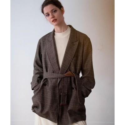 アウター unfil / アンフィル geelong lambs-flannel belted jacket グレンチェック ツイード風 ウールフラノ