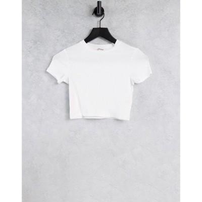 モンキ Monki レディース ベアトップ・チューブトップ・クロップド Tシャツ トップス Karo organic cotton cropped t-shirt in white ホワイト
