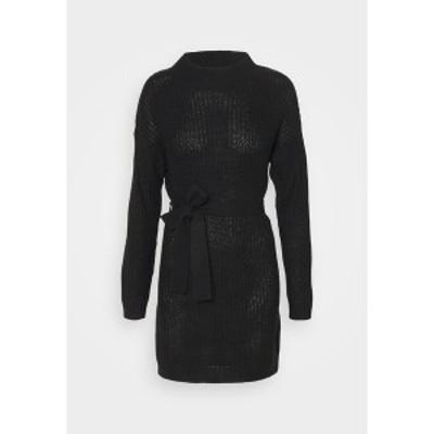 ミスガイデッド レディース ワンピース トップス HIGH NECK BASIC DRESS WITH BELT - Jumper dress - black black