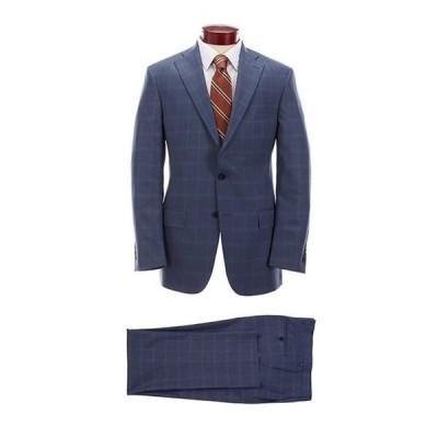 ハート シャフナー マルクス メンズ ジャケット・ブルゾン アウター Classic Fit Blue Plaid Pleated Wool Suit